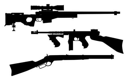 A set of three rifle silhouettes over white  Vector