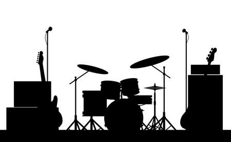 Silhouette of a rock bands equipment on stage isolated on white