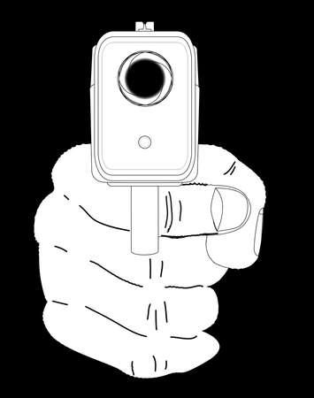 mano pistola: Guardando verso il basso la canna di una pistola fumante mano Vettoriali