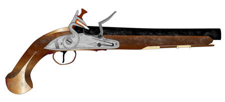 duelling: An of old style flintlock dueling pistol isolated on white  Illustration