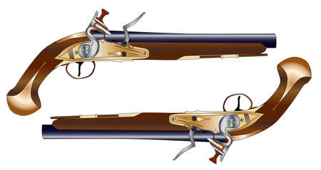 duelling: A pair of old style flintlock dueling pistols isolated on white  Illustration
