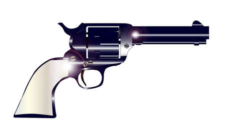 six shooter: A wild west revolver in gunmetal blue and pearl handle  Illustration