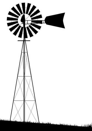 molinos de viento: Una bomba de agua peque�o molino de viento aislado m�s de blanco Vectores