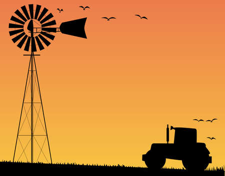 A small water pump windmill and a farm tractor silhouetted by sunset  Vector