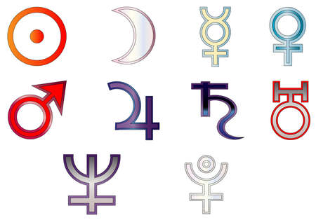 depictions: The astrological signs for the planets isolated on white