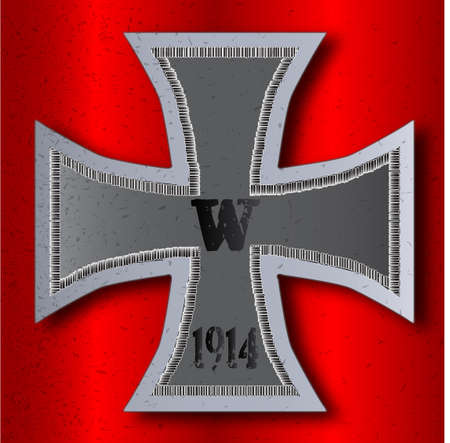fascism: A depiction of the Iron Cross as awarded to soldiers during the first world war  Illustration