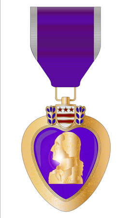 A purple heart medal isolated on a white