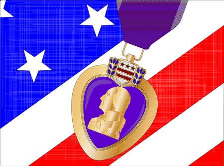 Le Stars and Stripes pavillon avec une médaille de coeur pourpre recouvert
