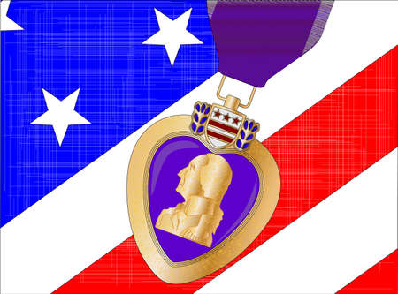 The  Stars and Stripes  flag with a purple heart medal overlayed Vector