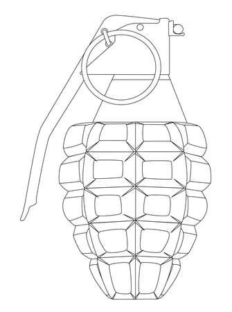 hand grenade: A hand grenade outline isolated on a white