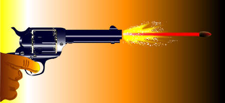A revolver pistol firing with muzzle flash and speeding bullet