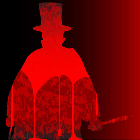 cloak and dagger: Jack the Ripper clipped on a bloody dark red background Illustration