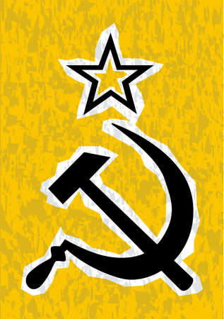 hammer and sickle: Hammer and Sickle grunge effect set on a yellow background