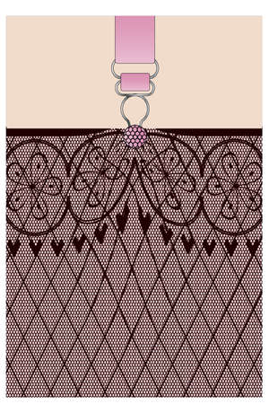 A lace stocking background in a fishnet style with hearts and flowers and a suspender button Illustration