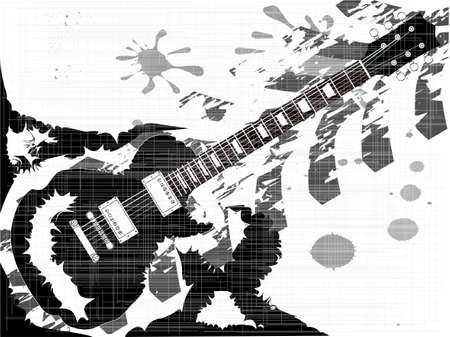 headstock: A rock guitar inergrated into a splatter type grunge backgound Illustration