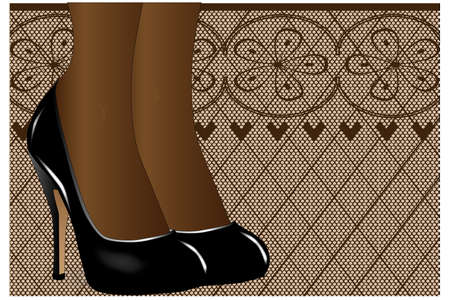 A pair of ladies legs in steletto heal shoes against a stocking type background Illustration