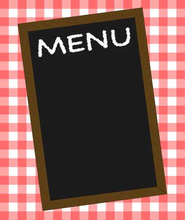 A menu board over a gingham tablecloth Çizim