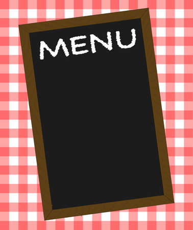 A menu board over a gingham tablecloth Illustration