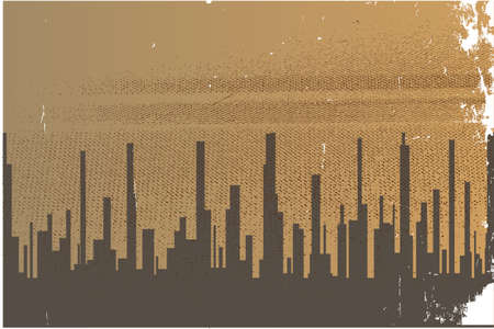 A cityscape in sepia with heavy grunge Illustration