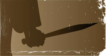 The hand of Jack the Ripper holding his knife in a sepia grunge style imahe