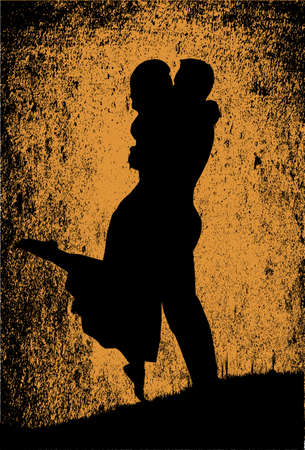 old fashioned: Old fashioned sepia background to a first kiss