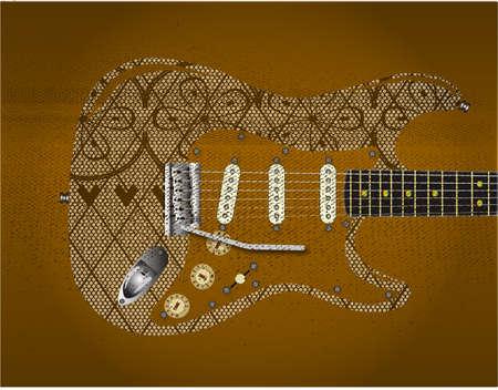 pickups: Una chitarra modello Calzetteria con una striscia rosso scuro