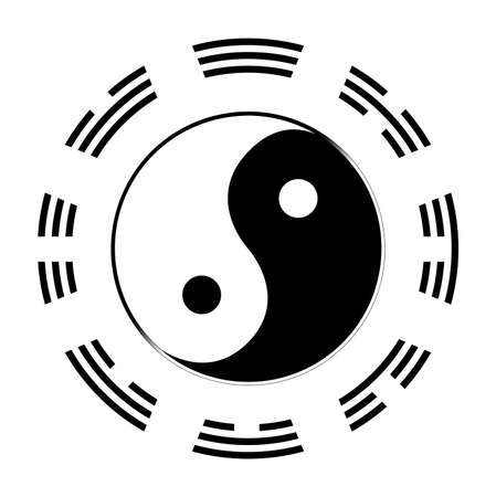 daoism: Yin and Yang in black and white with the symbols of the I CHing around the outside