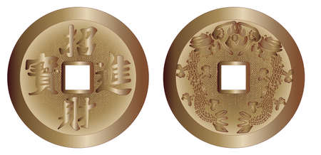 ching: The two sides of a typical I Ching coin isolated over a white background