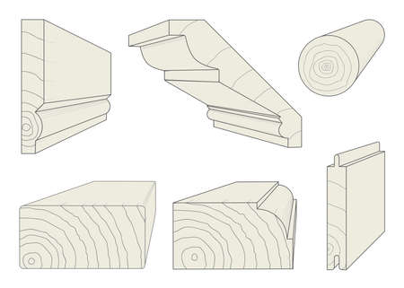 skirting: A selection of wood section profiles Illustration