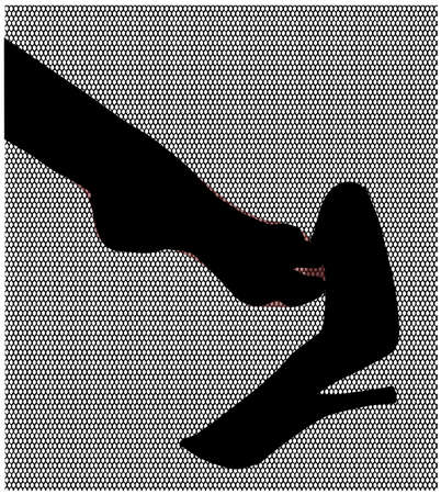 fetish: A stockinged foot slipping of a stiletto heel shoe set agaibst a nylon stocking mesh weave