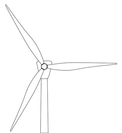 hillside: Black and white line drawing of a typical wind turbine