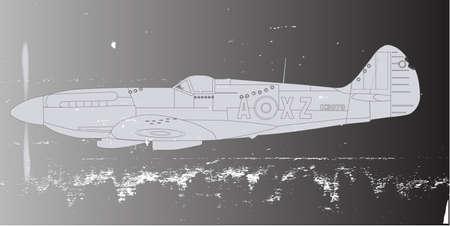 avion de chasse: La Seconde Guerre mondiale avion de combat de retour de patrouille avec Flack et mitrailleuse dmage avec une superposition de grunge