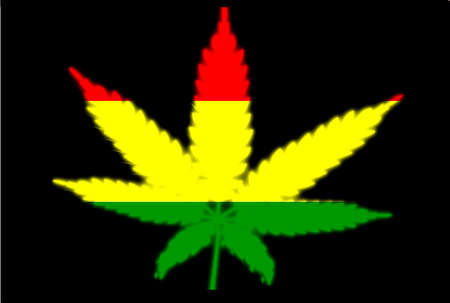 cannabis sativa: Rastafarian flag below a leaf cutout on a black background Illustration