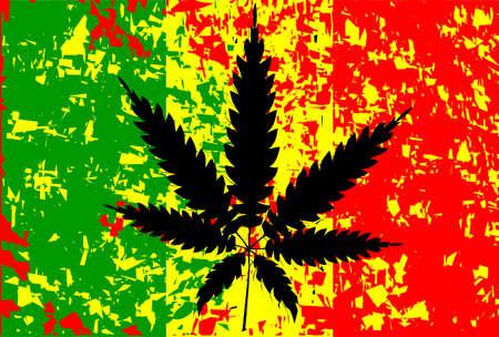 narcótico: Bandeira rastafari com FX abstrato e folhas em preto
