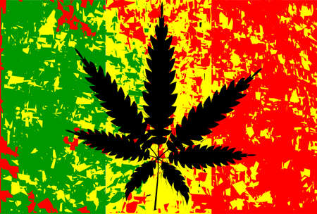 cannabis sativa: Rastafarian flag with abstract FX and leaf in black