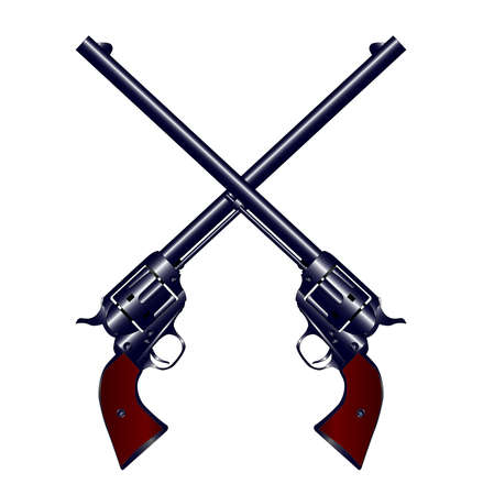 six shooter: A matched pair of long barrel six shooters