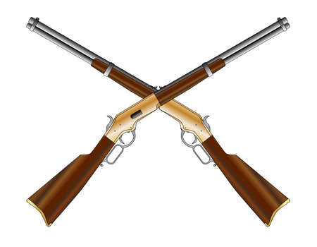 A typical wild west rifle as a crossed pair isolated on a white background