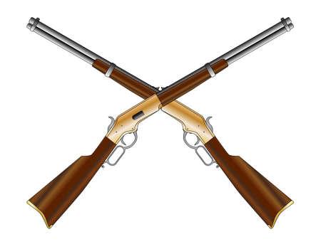 Un fusil à l'ouest sauvage typique comme une paire traversé isolé sur un fond blanc