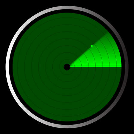 The screen of a typical radar device in green Vector