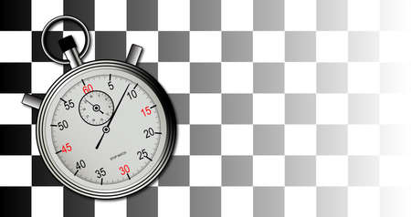A racing chequered flag with stop watch on a faded background Vector