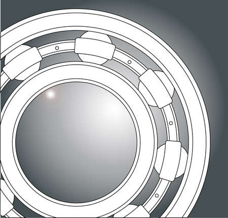 A typical ball bearing in white over a steel background Illustration