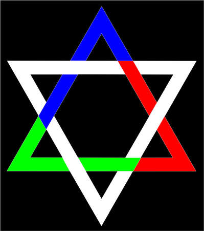 A depiction of the Star of David in metalic shades with a  faded stone FX background Vector