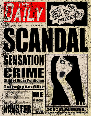 scandal: A typical daily fictitious newspaper with the red top, banner, typically in the UK Illustration