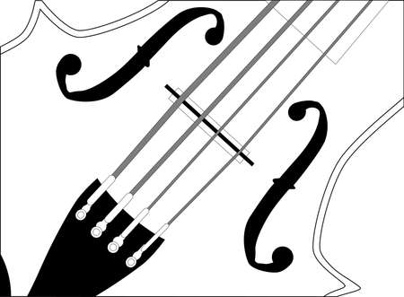 A close up of a violin in black and white Vector