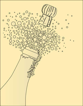 spraying: Champagne bottle being opened with froth and bubbles