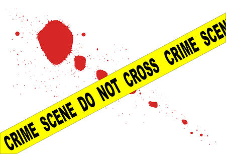 A typical CRIME SCENE DO NOT CROSS streamer set over a blood splatter all isolated on a white background