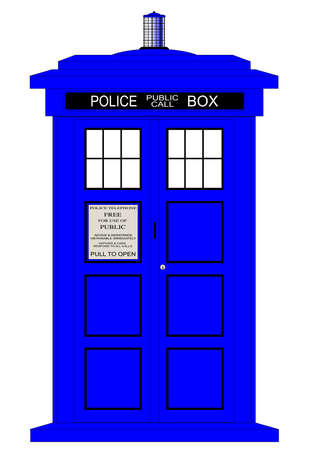 A typical british police box isolated over a white background