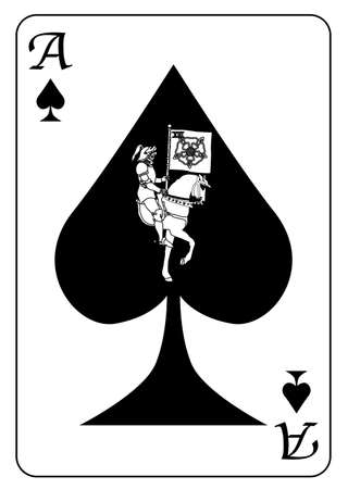 The ace of spades with a depiction of death set into the motif of the card, all isolated on a white background