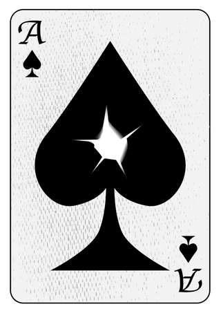 The ace of spades with a bullet hole through the centre, all isolated on a white background Vector