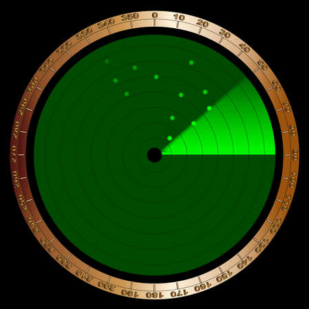 The screen of a typical radar device in green with graduations and a detected enemy Vector